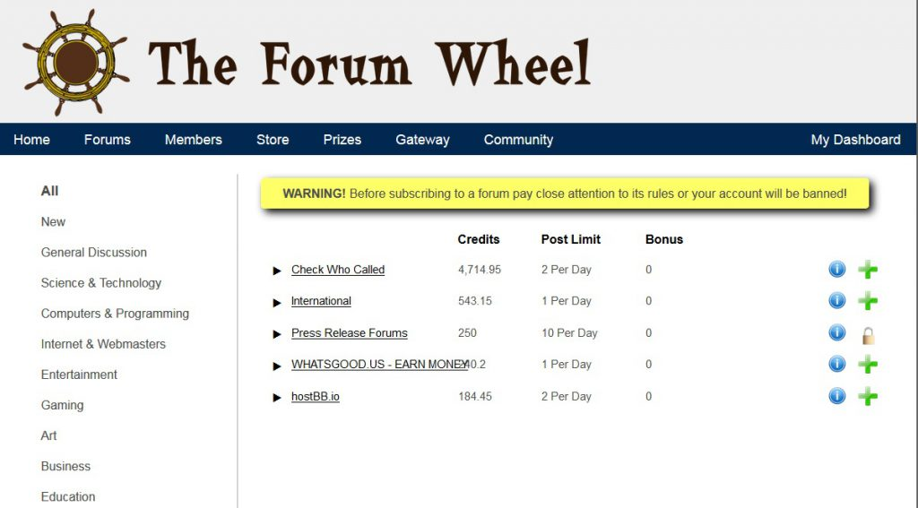 The Forum wheel screenshot