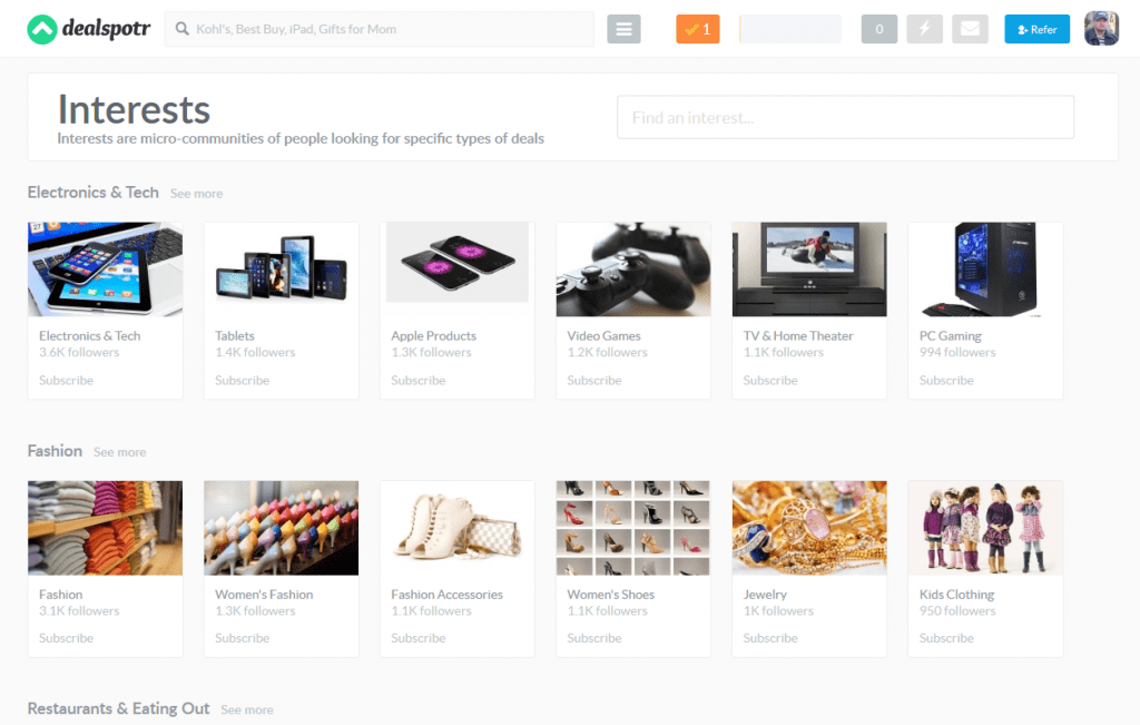 dealspotr-screenshot-of-interests